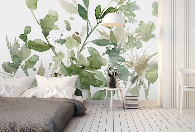 watercolour green floral wallpaper in minimalist bedroom