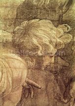 The School of Athens, detail of the cartoon depicting a young mans head, c.1510 (charcoal & white lead on paper) wallpaper mural thumbnail
