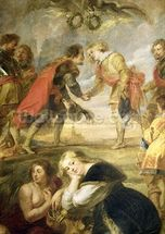 The Meeting of Ferdinand II (1578-1637) and his son the Cardinal Infante Ferdinand before the battle of Nordlingen in 1634, 1634-35 (oil on canvas) wall mural thumbnail