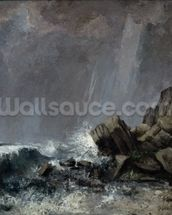 Downpour at Etretat (oil on canvas) wall mural thumbnail