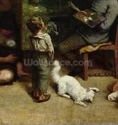 The Studio of the Painter, a Real Allegory, 1855 (oil on canvas) (detail of 19190) mural wallpaper thumbnail