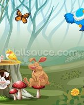 Rabbits and Birds Forest wallpaper mural thumbnail