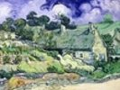 Thatched cottages at Cordeville, Auvers-sur-Oise, 1890 (oil on canvas) wall mural thumbnail