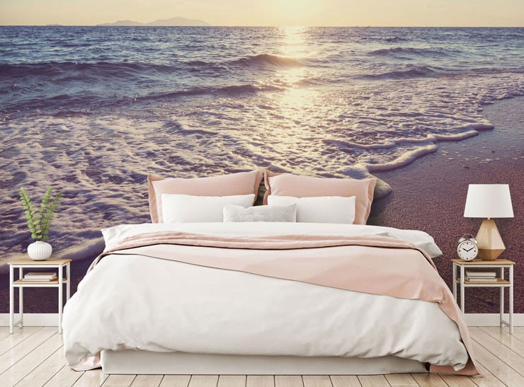 pink and white sunset beach in beautiful master bedroom