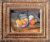 Straw-covered vase, sugar bowl and apples, 1890-93 (oil on canvas) (also see 393804) wallpaper mural thumbnail