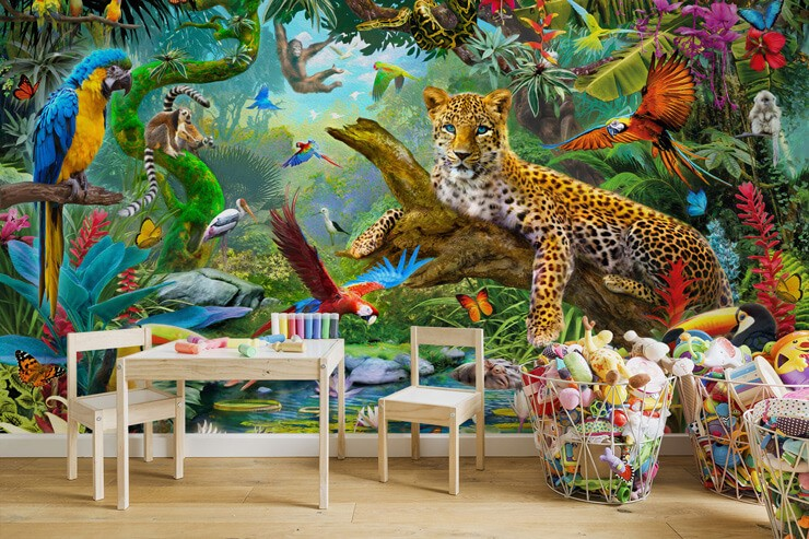 colourful leopard and parrot and animal tropical jungle wallpaper in trendy bedroom