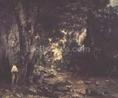 The Return of the Deer to the Stream at Plaisir-Fontaine, 1866 (oil on canvas) mural wallpaper thumbnail