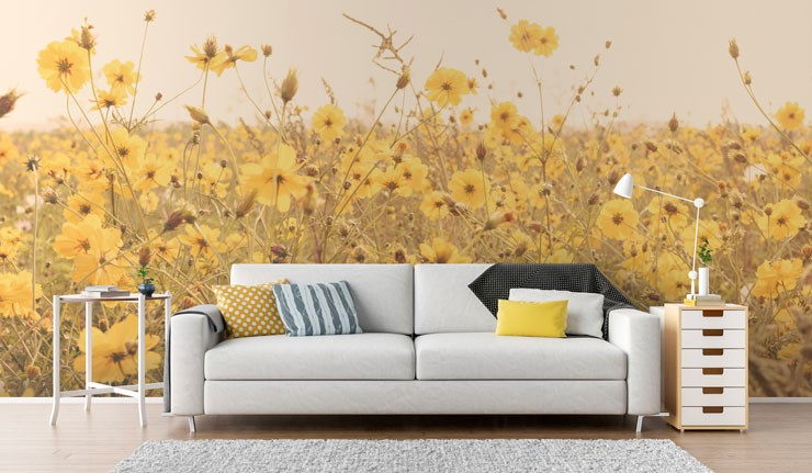 yellow flowers in field wallpaper in modern and light living room