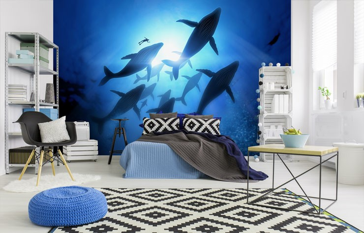 underneath whales swimming sealife wallpaper in large and trendy bedroom
