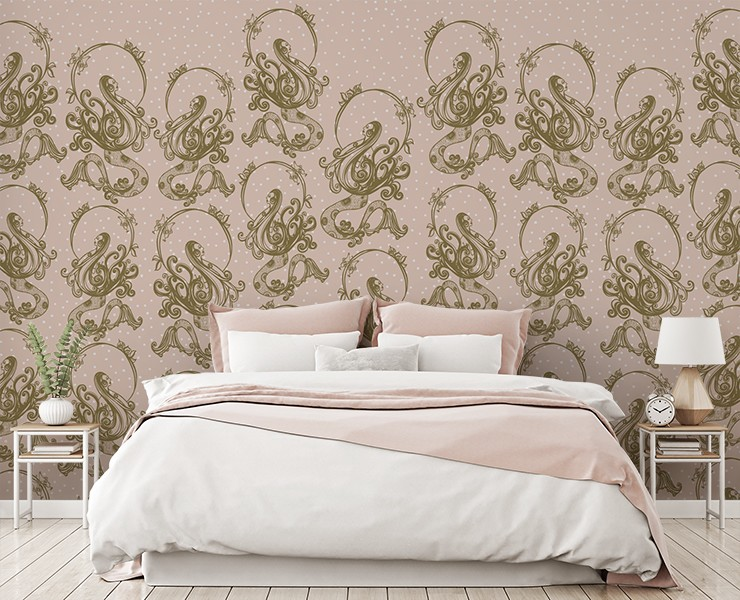 pale peach-pink mermaid pattern wallpaper in white and pink bedroom