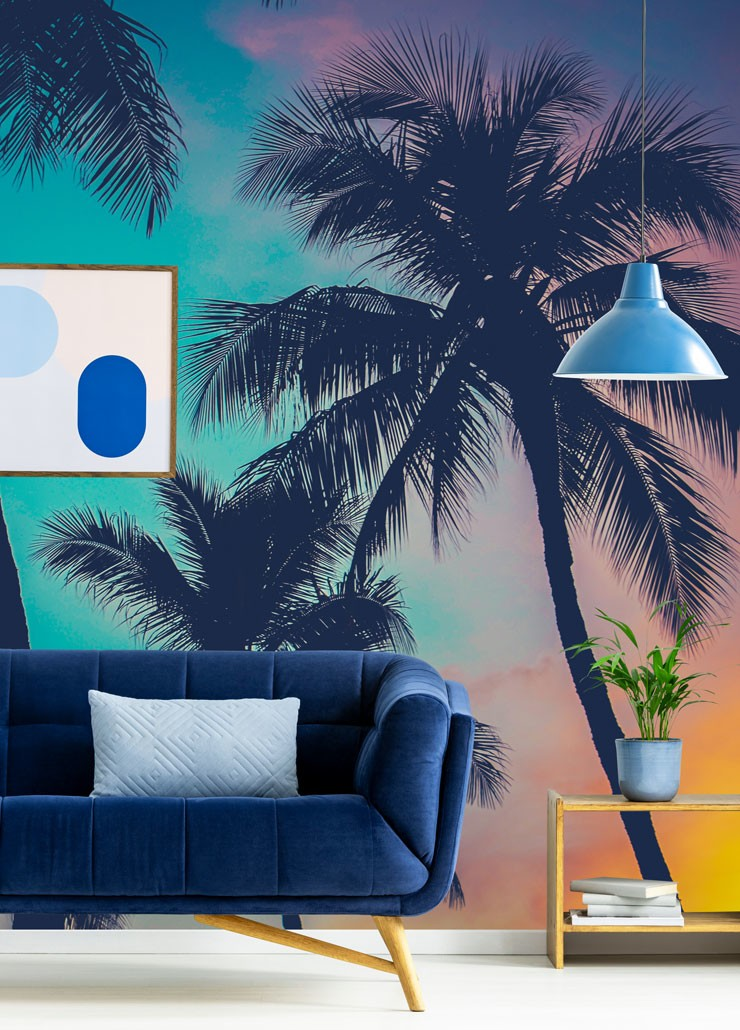 hawaii sunset wallpaper in living room