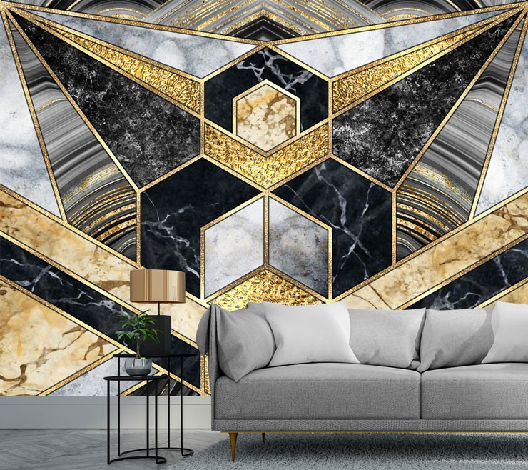 black, grey and gold art deco wallpaper in sleek living room