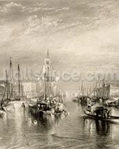 The Grand Canal, Venice, engraved by William Miller (1796-1882) 1838-52 (engraving) wall mural thumbnail