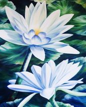 White Waterlilies In Pond - Oil Painting wall mural thumbnail