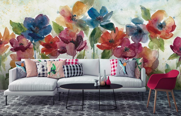 painted colourful flowers in lounge with tiled floor and quirky cushions on sofa wallpaper
