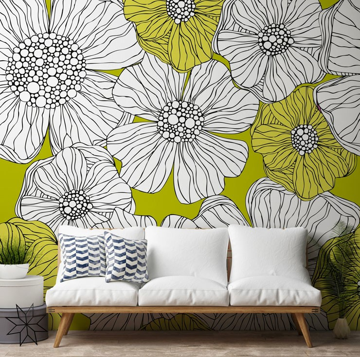 lime yellow and white large flowers mural with scandi white sofa