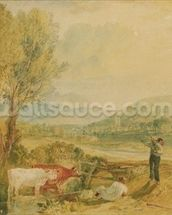 Lulworth Castle, Dorset, c.1820 (w/c with scratching out on wove paper) wall mural thumbnail
