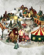 Snow Village wall mural thumbnail
