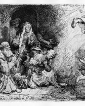 The Angel departing the family of Tobias, 1641 (etching) wall mural thumbnail