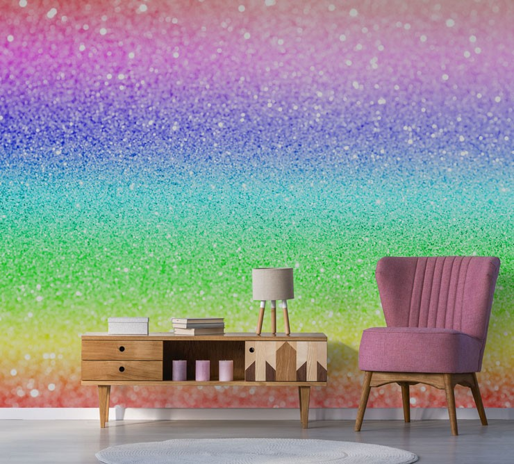 glitter effect rainbow dust wall mural in lounge