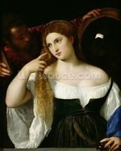Portrait of a Woman at her Toilet, 1512-15 (oil on canvas) wallpaper mural thumbnail