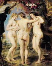 The Three Graces, c.1636-39 (oil on canvas) mural wallpaper thumbnail