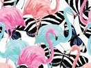 Flamingos with Butterflies wall mural thumbnail