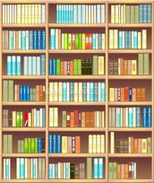 Colourful Bookcase wall mural thumbnail