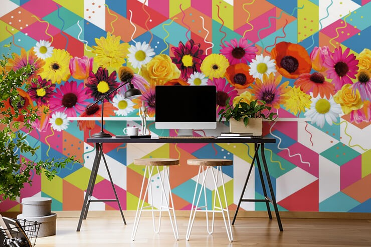 colourful pattern and flower wallpaper in home office
