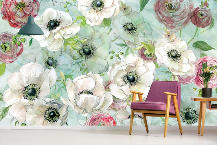 Floral-contemporary-wallpaper-in-lounge