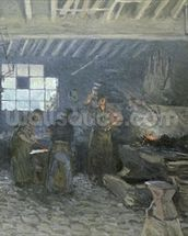 The Forge at Marly-le-Roi, Yvelines, 1875 (oil on canvas) mural wallpaper thumbnail