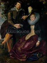 Self portrait with Isabella Brandt, his first wife, in the honeysuckle bower, c.1609 (oil on canvas) mural wallpaper thumbnail