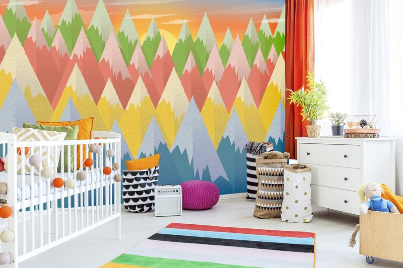 Mountain-wallpaper-in-nursery