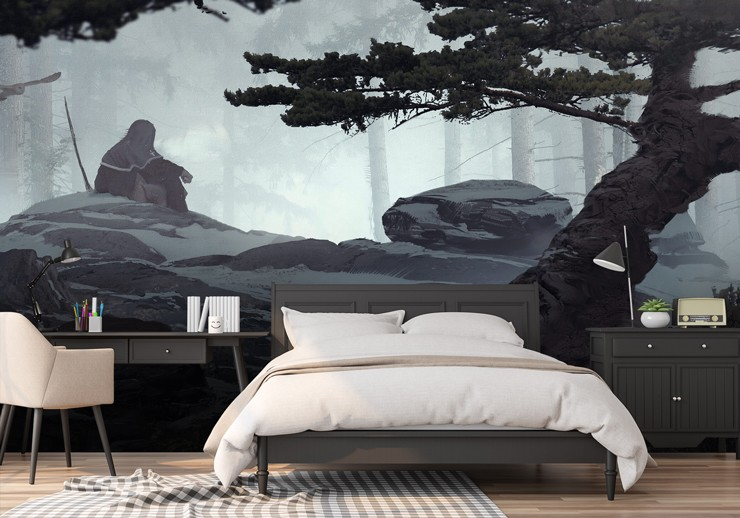 hooded figure in forest gaming wallpaper in trendy bedroom