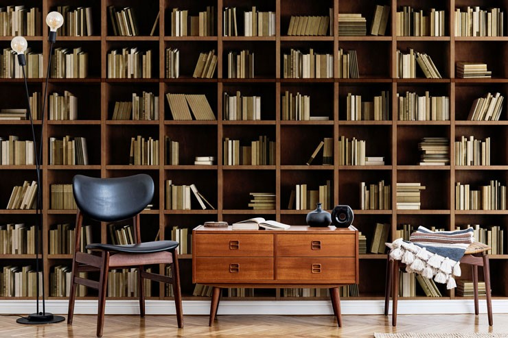 scandi brown and beige book shelf wall mural in modern home library