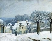 The Place du Chenil at Marly-le-Roi, Snow, 1876 (oil on canvas) mural wallpaper thumbnail