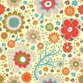 Abstract Floral - Colourful wall mural thumbnail
