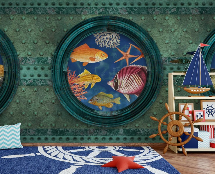 realistic submarine window fish wallpaper in sailor themed childs bedroom