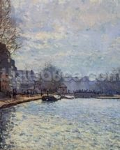 View of the Canal Saint-Martin, Paris, 1870 (oil on canvas) wall mural thumbnail