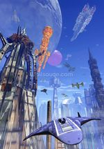 Futuristic fuel station wall mural thumbnail