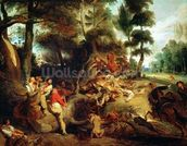 The Wild Boar Hunt, after a painting by Rubens, c.1840-50 (oil on canvas) wallpaper mural thumbnail