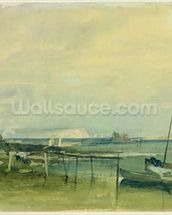 Coast Scene with White Cliffs and Boats on Shore (w/c & graphite on paper) mural wallpaper thumbnail