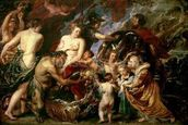 Minerva Protects Pax from Mars (Peace and War), 1629-30 (oil on canvas) wallpaper mural thumbnail