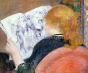 Young Woman Reading an Illustrated Journal, c.1880-81 mural wallpaper thumbnail