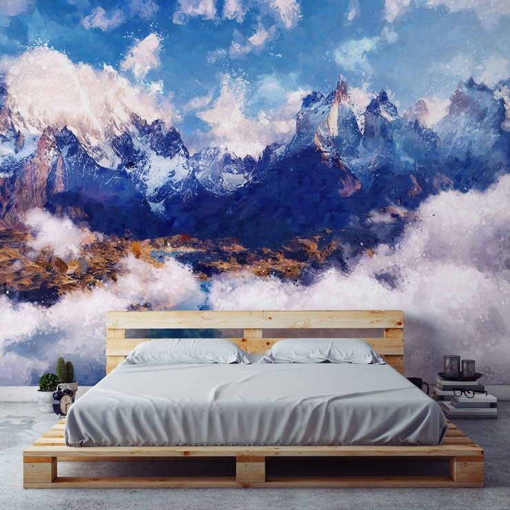 painted white and blue clouded mountain wall mural in minimalist style bedroom