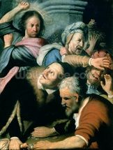 Christ Driving the Moneychangers from the Temple, 1626 (oil on canvas) wall mural thumbnail