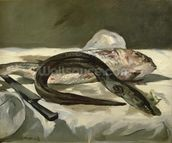 Eel and Red Mullet, 1864 (oil on canvas) wallpaper mural thumbnail