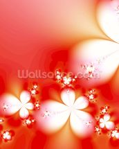 Abstract Flowers on Red wallpaper mural thumbnail