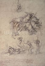 The Fall of Phaethon, 1533 (pencil on paper) mural wallpaper thumbnail