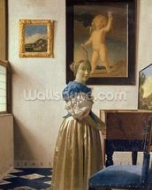 A Young Woman Standing at a Virginal, c.1670-72 (oil on canvas) wall mural thumbnail